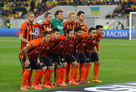 rsc: LVIV, UKRAINE - March 10, 2016: FC Shakhtar Donetsk players pose for a group photo before the UEFA Europa League Round of 16 game against RSC Anderlecht at Lviv Arena