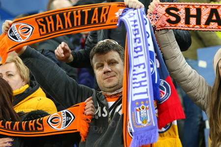 rsc: LVIV, UKRAINE - March 10, 2016: FC Shakhtar Donetsk supporters show their support during UEFA Europa League Round of 16 game against RSC Anderlecht at Lviv Arena in Lviv. Shakhtar won 3-1 Editorial