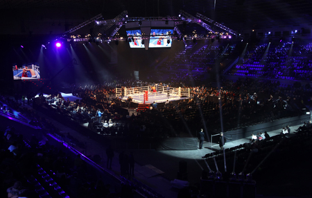 olympic ring: KYIV, UKRAINE - DECEMBER 13, 2014: Panoramic view of Palace of Sports in Kyiv during Evening of Boxing Editorial