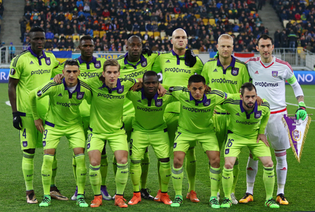 rsc: LVIV, UKRAINE - March 10, 2016: RSC Anderlecht players pose for a group photo before the UEFA Europa League Round of 16 game against FC Shakhtar Donetsk at Lviv Arena