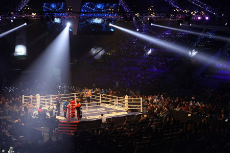 the olympic rings: KYIV, UKRAINE - DECEMBER 13, 2014: Boxing ring in Palace of Sports in Kyiv during Evening of Boxing Editorial