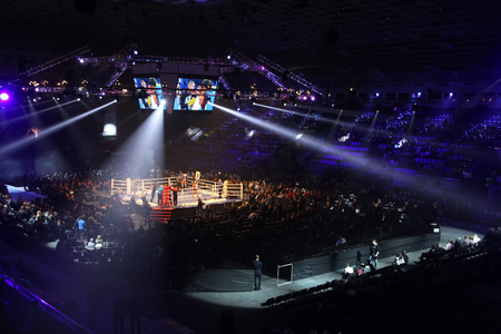 arena: KYIV, UKRAINE - DECEMBER 13, 2014: Panoramic view of interior of Palace of Sports in Kyiv during Evening of Boxing Editorial