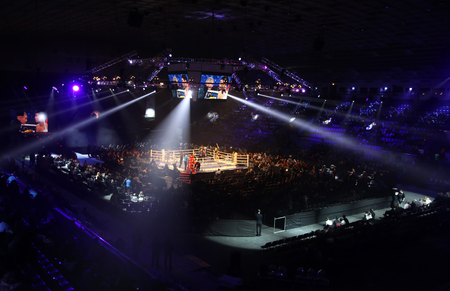 KYIV, UKRAINE - DECEMBER 13, 2014: Panoramic view of interior of Palace of Sports in Kyiv during Evening of Boxing Editorial