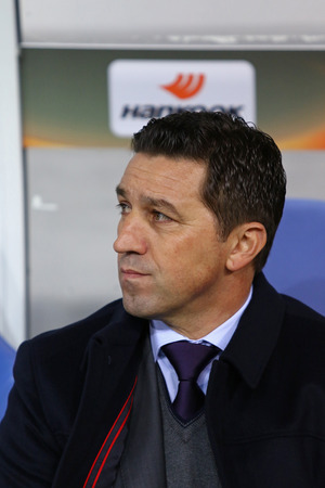 rsc: LVIV, UKRAINE - March 10, 2016: RSC Anderlecht manager Besnik Hasi looks on during UEFA Europa League Round of 16 game against FC Shakhtar Donetsk at Lviv Arena Editorial