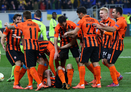 rsc: LVIV, UKRAINE - March 10, 2016: FC Shakhtar Donetsk players react after scored during the UEFA Europa League Round of 16 game against RSC Anderlecht at Lviv Arena. Shakhtar won 3-1 Editorial