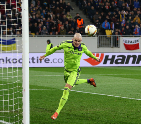 rsc: LVIV, UKRAINE - March 10, 2016: Bram Nuytinck of RSC Anderlecht in action during the UEFA Europa League Round of 16 game against FC Shakhtar Donetsk at Lviv Arena stadium in Lviv Editorial