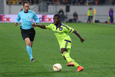 rsc: LVIV, UKRAINE - March 10, 2016: Frank Acheampong of RSC Anderlecht in action during the UEFA Europa League Round of 16 game against FC Shakhtar Donetsk at Lviv Arena stadium