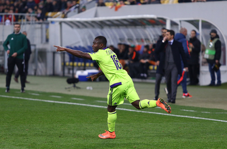 rsc: LVIV, UKRAINE - March 10, 2016: Frank Acheampong of RSC Anderlecht reacts after scored during the UEFA Europa League Round of 16 game against FC Shakhtar Donetsk at Lviv Arena Editorial