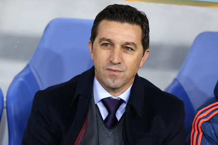 rsc: LVIV, UKRAINE - March 10, 2016: RSC Anderlecht manager Besnik Hasi looks on during UEFA Europa League Round of 16 game against FC Shakhtar Donetsk at Lviv Arena Editorial