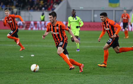 rsc: LVIV, UKRAINE - March 10, 2016: FC Shakhtar Donetsk players attack during the UEFA Europa League Round of 16 game against RSC Anderlecht at Lviv Arena stadium in Lviv. Shakhtar won 3-1 Editorial