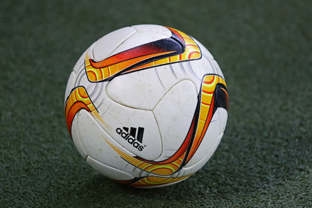 rsc: LVIV, UKRAINE - March 10, 2016: Official UEFA Europa League season ball on the grass during UEFA Europa League Round of 16 game FC Shakhtar Donetsk vs RSC Anderlecht at Arena Lviv stadium in Lviv Editorial