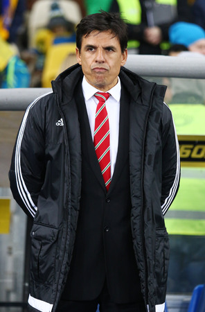 match head: KYIV, UKRAINE - MARCH 28, 2016: Head coach of Wales National football team Chris Coleman looks on during Friendly match against Ukraine at NSC Olympic stadium in Kyiv, Ukraine Editorial