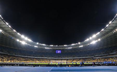 KYIV, UKRAINE - MARCH 28, 2016: Panoramic view of NSC Olympic stadium before Friendly match between Ukraine and Wales, Kyiv, Ukraine