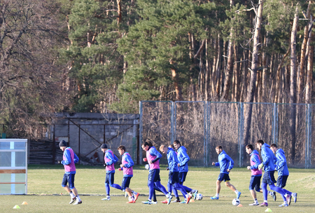 gusev: KYIV, UKRAINE - MARCH 27, 2016: Open training session of Ukraine National Football Team before the game against Wales. Koncha-Zaspa Training Camp, Kyiv, Ukraine