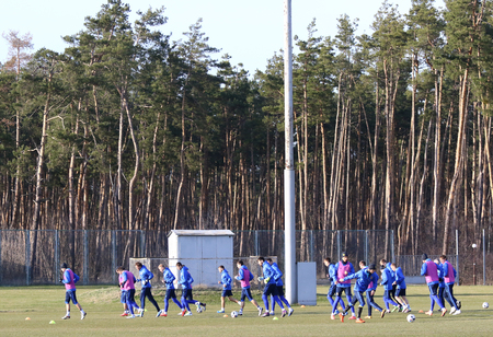camping pitch: KYIV, UKRAINE - MARCH 27, 2016: Open training session of Ukraine National Football Team before the game against Wales. Koncha-Zaspa Training Camp, Kyiv, Ukraine