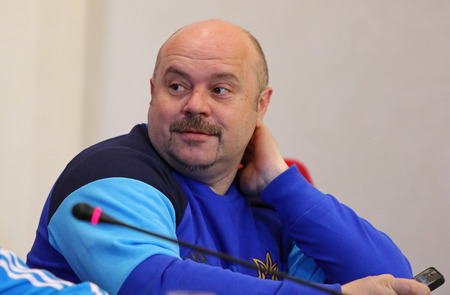 spokesman: KYIV, UKRAINE - MARCH 27, 2016: Spokesman of Ukraine National Team Oleksandr Glyvynskyy looks on during press-conference before the friendly game against Wales. Koncha-Zaspa Training Camp, Kyiv