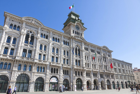 municipal editorial: TRIESTE, ITALY - MAY 25, 2014: City Hall building (Comune di Triesti) at the Unity of Italy square (Piazza Unita dItalia) in Trieste, a seaport city in north-east Italy