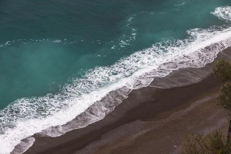 seacoast: Aerial winter view of the beach on Amalfi seacoast, Italy