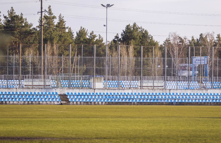 camping pitch: KYIV, UKRAINE - MARCH 27, 2016: FC Dynamo Training Camp in Koncha-Zaspa suburb of Kyiv during the Open training session of Ukraine National Football Team before the game against Wales