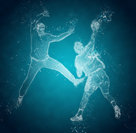 ice crystal: Abstract handball players in action. Crystal ice effect