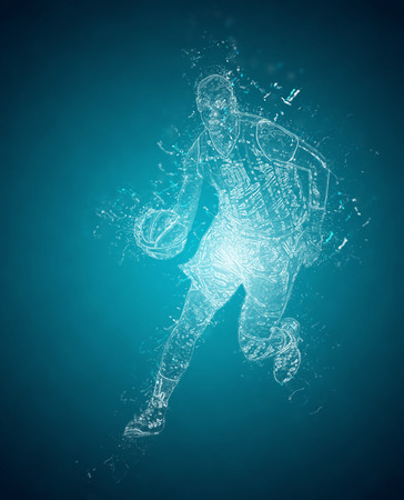 player controls: Abstract basketball player controls a ball. Crystal ice effect