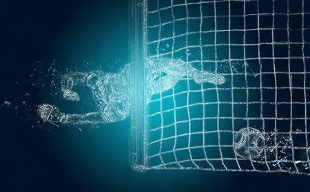 arquero futbol: fútbol (soccer) portero Resumen pierde una pelota. efecto de cristales de hielo Foto de archivo