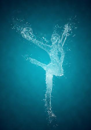gimnasia aerobica: abstracta de la mujer gimnasta rítmica en acción. efecto de cristales de hielo