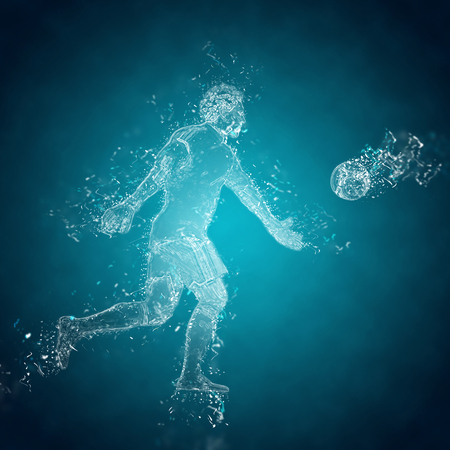 kicks: Abstract football (soccer) goalkeeper kicks the ball. Crystal ice effect Stock Photo