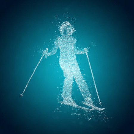 water  skier: Abstract skier on a slope. Crystal ice effect Stock Photo