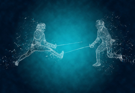 fencers: Abstract sabre fencers in action. Crystal ice effect Stock Photo