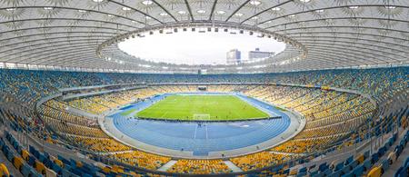 premier league: KYIV, UKRAINE - APRIL 10, 2016: Panoramic view of NSC Olympic stadium (NSC Olimpiyskyi) during Ukraine Premier League game FC Dynamo Kyiv vs FC Volyn in Kyiv, Ukraine Editorial