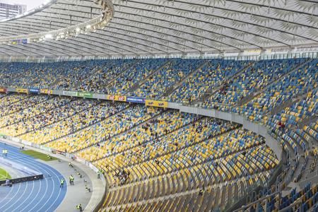 KYIV, UKRAINE - APRIL 10, 2016: Tribunes of NSC Olympic stadium (NSC Olimpiyskyi) during Ukraine Premier League game FC Dynamo Kyiv vs FC Volyn in Kyiv, Ukraine Editorial
