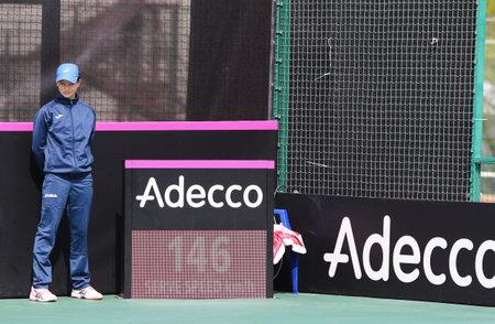paribas: KYIV, UKRAINE - APRIL 16, 2016: Details of central court of Campa Bucha Tennis Club during BNP Paribas FedCup World Group II Play-off game Ukraine vs Argentina, Kyiv, Ukraine