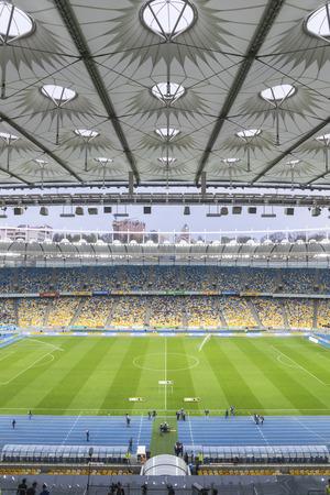 KYIV, UKRAINE - APRIL 10, 2016: NSC Olympic stadium (NSC Olimpiyskyi) during Ukraine Premier League game FC Dynamo Kyiv vs FC Volyn in Kyiv, Ukraine Editorial