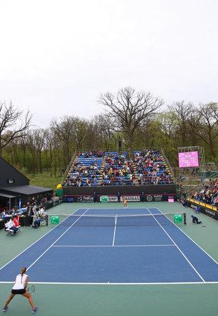 paribas: KYIV, UKRAINE - APRIL 16, 2016: BNP Paribas FedCup World Group II Play-off game Ukraine vs Argentina at Campa Bucha Tennis Club in Kyiv, Ukraine