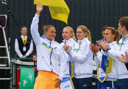 paribas: KYIV, UKRAINE - APRIL 16, 2016: Ukraine National Team before BNP Paribas FedCup World Group II Play-off game Ukraine vs Argentina at Campa Bucha Tennis Club in Kyiv, Ukraine
