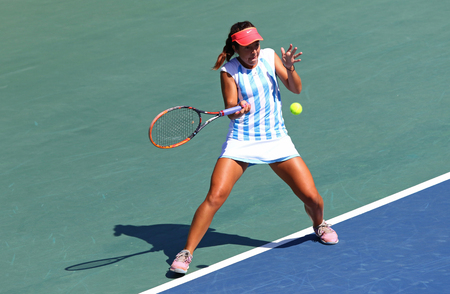 perez: KYIV, UKRAINE - APRIL 17, 2016: Guadalupe Perez Rojas of Argentina in action during BNP Paribas FedCup World Group II Play-off pair game against Ukraine at Campa Bucha Tennis Club in Kyiv, Ukraine