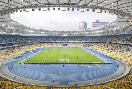 KYIV, UKRAINE - APRIL 10, 2016: Interior of NSC Olympic stadium (NSC Olimpiyskyi) during Ukraine Premier League game FC Dynamo Kyiv vs FC Volyn in Kyiv, Ukraine