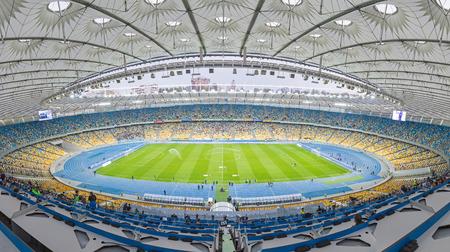 KYIV, UKRAINE - APRIL 10, 2016: Panoramic view of NSC Olympic stadium (NSC Olimpiyskyi) during Ukraine Premier League game FC Dynamo Kyiv vs FC Volyn in Kyiv, Ukraine Editorial