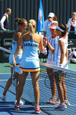 paribas: KYIV, UKRAINE - APRIL 17, 2016: BNP Paribas FedCup World Group II Play-off pair game Ukraine vs Argentina at Campa Bucha Tennis Club in Kyiv, Ukraine