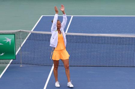 grand hard: KYIV, UKRAINE - APRIL 16, 2016: Kateryna Bondarenko of Ukraine reacts after won the BNP Paribas FedCup match against Maria Irigoyen of Argentina at Campa Bucha Tennis Club in Kyiv, Ukraine