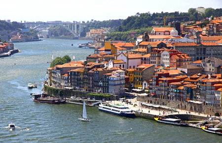 old center: Aerial view of old center of City of Porto and Douro river, Portugal Stock Photo