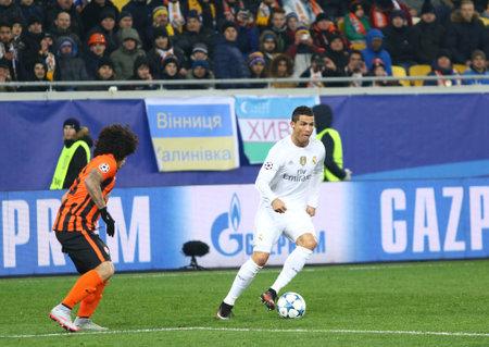 LVIV, UKRAINE - NOVEMBER 25, 2015: Cristiano Ronaldo of Real Madrid (R) in action during UEFA Champions League game against FC Shakhtar Donetsk at Arena Lviv stadium Editorial