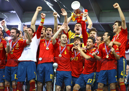 fabregas: KYIV, UKRAINE - JULY 1, 2012: Spain national football team celebrates their winning of the UEFA EURO 2012 Championship after the final game against Italy at NSC Olympic stadium in Kyiv, Ukraine