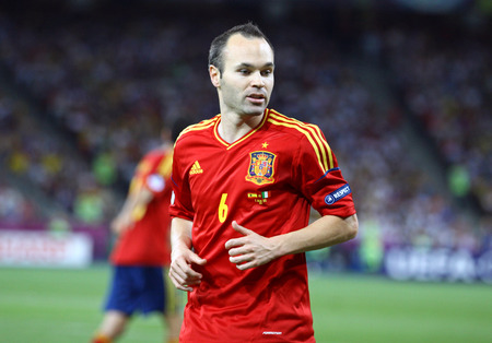 iniesta: KYIV, UKRAINE - JULY 1, 2012: Portrait of Andres Iniesta of Spain during UEFA EURO 2012 Final game against Italy at Olympic stadium in Kyiv, Ukraine