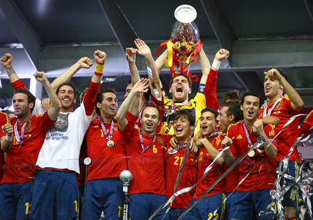 fabregas: KYIV, UKRAINE - JULY 1, 2012: Players of Spain national football team celebrates their winning of the UEFA EURO 2012 Championship after the final game against Italy at NSC Olympic stadium in Kyiv