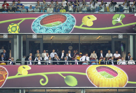 pres: KYIV, UKRAINE - JULY 1, 2012: VIP guests of UEFA EURO 2012 Final game Spain v Italy at Olympic stadium: M.Saakashvili (Pres. of Georgia), A.Lukashenko (BLR), S.Sargsyan (ARM), E.Rahmon (TJT) and other
