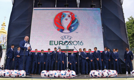 gusev: KYIV, UKRAINE - MAY 22, 2016: Players of the National Football team of Ukraine on a stage during the ceremony of the Departure for the European Championship 2016. Mykhailivska Square in Kyiv, Ukraine Editorial