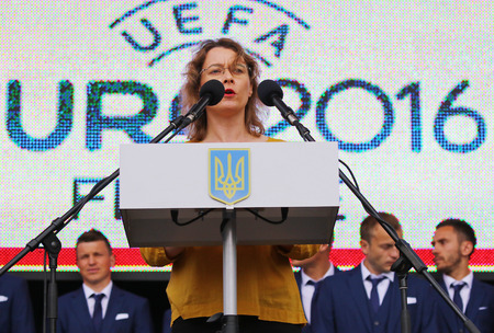 ambassador: KYIV, UKRAINE - MAY 22, 2016: Ambassador of France to Ukraine Isabelle Dumont gives a speech during the Ceremony of the Departure of the National Football Team of Ukraine for the EURO-2016