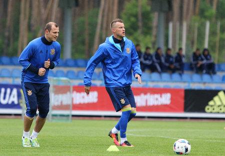 camping pitch: KYIV, UKRAINE - MAY 20, 2016: Open training session of Ukraine National Football Team before UEFA EURO 2016 Championship. Koncha-Zaspa Training Camp, Kyiv, Ukraine Editorial
